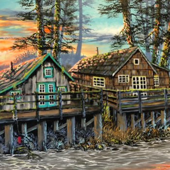 Neighbours on the slough - By Canadian Artist Don Rice