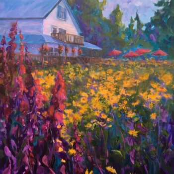 Summertime at the Heriot Bay Inn - By Canadian Artist Maureen Maryka