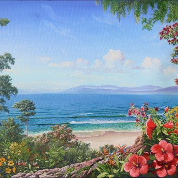 Hibiscus and Birds of Paradise - By Canadian Artist Michael Arthur Goguen