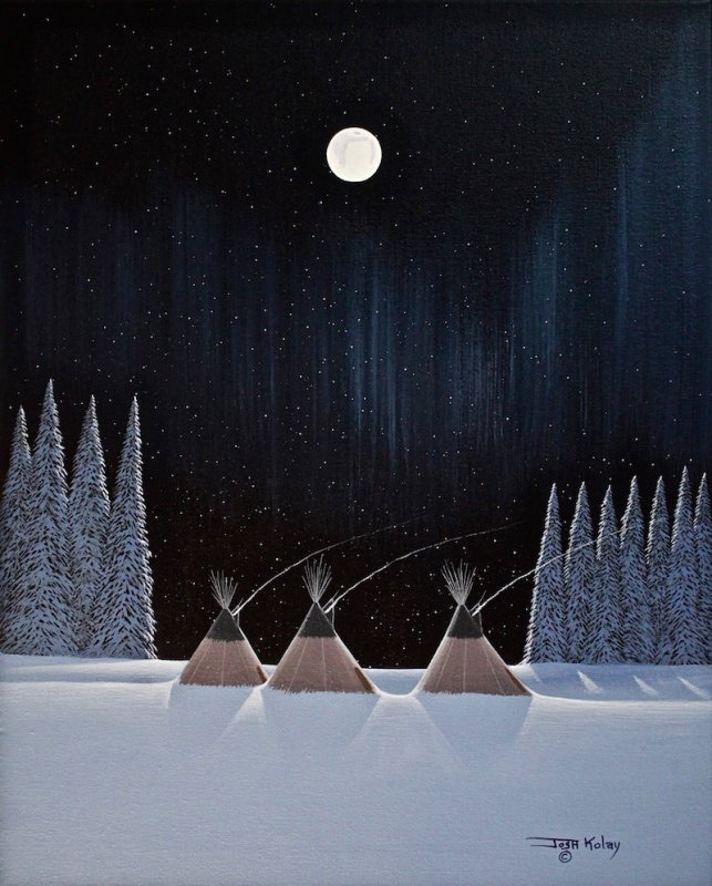 Aboriginal Artist Josh Kolay - Teepees in Winter Night